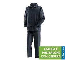 IMPERMEABILE COMPLETO NIAGARA PVC POLIESTERE CAPPUCCIO GIACCA E PANTALONI CERNIE