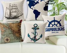 Linen Cotton Rustic Cushion Cover Case Nautical Sailor Anchor Map Explorer Ship