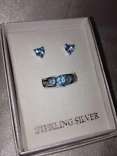 Women's Diamond Heart Earrings & Ring Set Sterling Silver Aqua Blue Size 7 $200