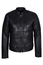 Men's Italian Lather Jacket Black Wax Real Napa Biker Classic Vintage Style 1065