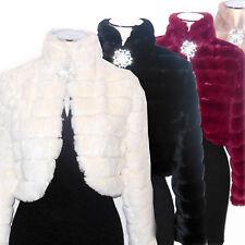 Bolero ECO PELLICCIA bordeaux bianco nero beige giacca coprispalle stola D0656