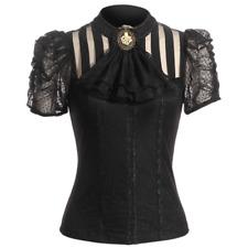 Viktorianische Damen Kurzarm-Bluse Sasha Gothic Steampunk SP087 Farbauswahl