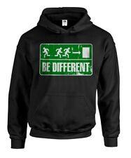 """Kapuzenpullover """"BE DIFFERENT"""" Notausgang Schild Piktogramm Fun Gag Shirt Hoody"""