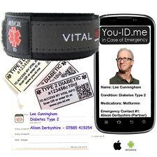 Type 2 Diabetic Medical Identity Bracelet Band SOS Alert ID Wristband SMS Phone
