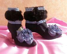 Victorian Vintage Steampunk Denim Vegan Faux Mink Black Ankle Boots Party Bridal