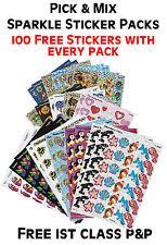 School Teacher Sparkle Reward Stickers Pick & Mix - Bees, Frogs, Fish, Stars....