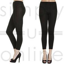 Black Thick Thermal Fleece Warm Full Length Cotton Leggings - UK 6-12