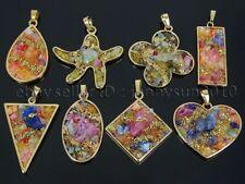 Colorful Druzy Quartz Pendant Necklace Healing Charm Beads Gold Plated Design