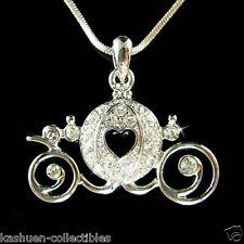 ~Cinderella Dream Wedding~ w Swarovski Crystal Pumpkin Carriage Pendant Necklace