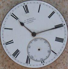 J. Sewill Pocket Watch movement & Enamel Dial 43,5 mm. in diameter to restore