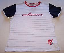 Melbourne Demons AFL Ladies White Stripe Printed T Shirt Size L New
