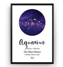 Aquarius Print Zodiac Constellation - Astrology Gift Poster Star Sign - Unframed