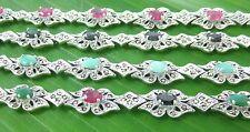 925 sterling silver Real Stone RUBY SAPPHIRE EMERALD & Marcasite BRACELET -WOMEN