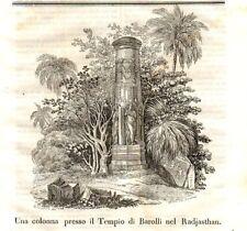 Stampa antica INDIA Tempio nel RAJASTHAN 1840 Old Print