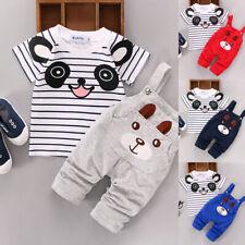 Short Sleeve T-shirt Tops+Bib Pants Newborn Infant Toddler Boy Girls Clothes