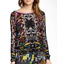 Custo Barcelona Uge Citty Lightweight Wool Long Sleeve Sweater S M L Black/Multi