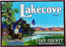 *Original* LAKECOVE Huck Finn Lake FISHING Mountain Pear Label NOT A COPY!
