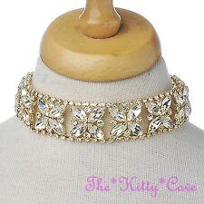 Catwalk Flower Floral Prom Statement Hollywood Bridal Crystal Choker Necklace