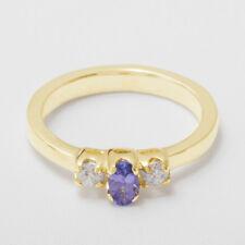 9ct Yellow Gold Natural Tanzanite & Cubic Zirconia Womens Trilogy Ring -Size J-Z