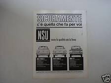 advertising Pubblicità 1968 NSU 1000 - 1200 C - TT