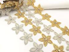 Stunning Wedding Star Motif Crystal Rhinestone Applique Sewing Iron on Star Trim