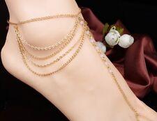 Women Chain Tassel Beads Foot Harness Barefoot Sandal Beach Ankle Bracelet PP1