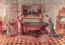 Billiards Tables Vintage Ad POSTER.Stylish Graphics.Brunswick & CO Pool.1879