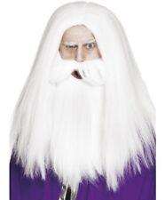 Hombre Mago o Mago Disfraz Peluca y Barba Set Blanco Nuevo por Smiffys