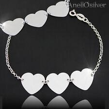 925 Silber Armband & 3 Herz Kostenlose Gravur fur Madchan Frauen 19,21,23 lange