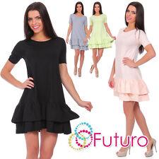 Ladies Mini Tiered Dress Short Sleeve Crew Neck Cotton Tunic Size 8-12 FT2026
