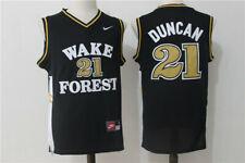 Tim Duncan #21 NCAA Wake Forest Black White Men Devils Retro Basketball Jersey