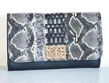 BORSELLO donna NERO borsa borsetta pelle vernice rettile oro sac bag Z14