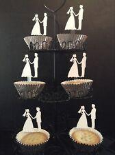 Cupcake Toppers - Die Cut - Bride and Groom (6) (Wedding)