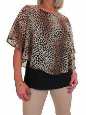 ICE Womens Cape Style Top Leopard Chiffon Black Under Brown Beige 10-22