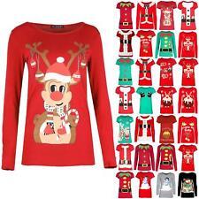 Womens Christmas Ladies Cap Sleeve Xmas Reindeer Tee Shirt Tree Bells Mini Top