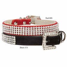 East Side Collection Velvet Rhinestone Dog Collars Pet Collar black red