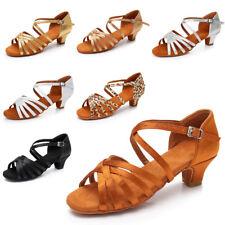 High quality Women Children Girl's Ballroom Latin Tango Dance Shoes heeled Salsa