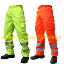 Hi Viz High Vis P/C Combat Safety Work Trouser Cargo Pants Highways Rail Spec