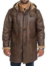 Homme Véritable Peau De Mouton Duffle-coat brown 3/4 Genou Long à Capuche Chaud Shearling Jacket