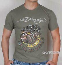 Authentic Ed Hardy Men's T shirt SS Bulldog-Kaki Brand New with Tag