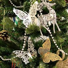 Pack of 12 Christmas Tree Glitter 3D Butterfly / Butterflies Decorations