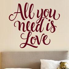 "Sticker Décoration Texte ""All you Need is Love"" 15x17cm à 30x34cm, (TEX041)"