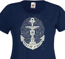 T-shirt femme BORN ON A CREST Sailor Encre de marine Pin-Up Tattoo Marine Navy