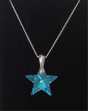 925 Sterling Silver Star Collana ICE BLUE AB Ciondolo Cristallo Swarovski Elements