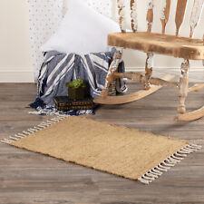 VHC Farmhouse Rug Burlap Natural Flooring Tan Textured Cotton Solid Color