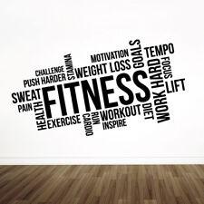Gym Wall Art Sticker - Fitness, Exercise, Workout, Cardio, Focus, Goals - Mot...