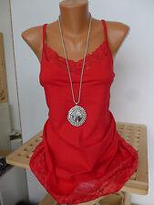 Sheego Long Tunika Shirt Gr. 40 - 58 Rot mit Spitze unten und oben (275) NEU