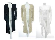 Womens Longline Knitted Jacket Cardi Long Sleeve Midi Length Open Front *LICK*