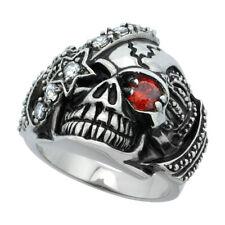 Stainless Steel Pirate Biker Skull Ring w/ Red CZ Stone Eye & Eye Patch Crown
