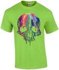 Liquid Blue Neon Melting Skull Neon Skull Dripping Party T-Shirt